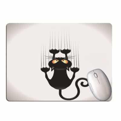 Tapis de souris chat noir marrant cartoon agriffé au mur