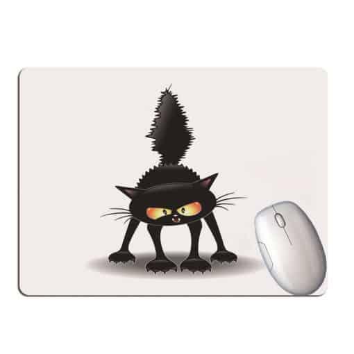 Tapis de souris chat noir marrant cartoon poil herissé
