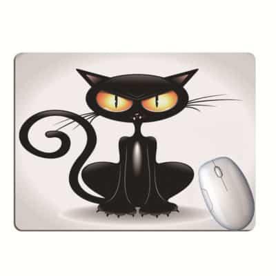 Tapis de souris chat noir marrant cartoon regard perçant