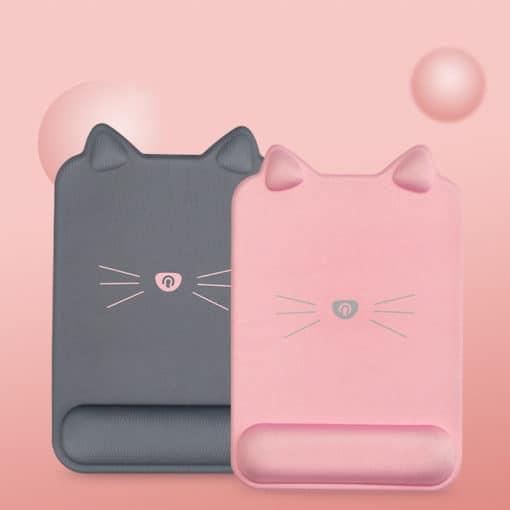 Tapis de souris ergonomique forme de chat avec repose-poignet