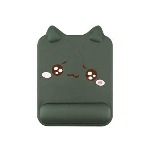 Tapis de souris ergonomique forme de chat avec repose-poignet couleur vert